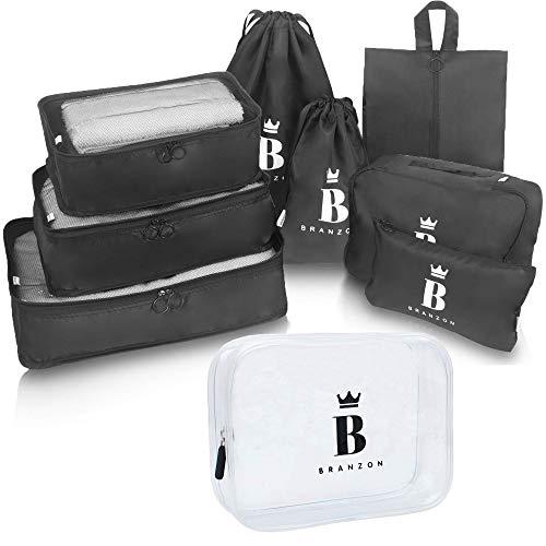 BRANZON ® Kleidertaschen Set 9-teilig - Packing Cubes inkl. Kulturbeutel durchsichtig - Koffer Organizer Set - Packtaschen für Rucksack - Schuhbeutel - Kulturbeutel transparent - Kulturbeutel