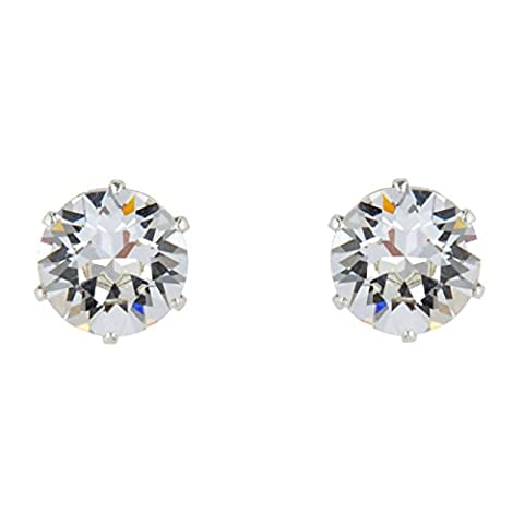 925 Sterling Silver Stud Earrings Made with April Birthstone Crystals from Swarovski April