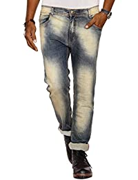 Jugend Light Green Faded Stretchable Skinny Fit Jeans For Men