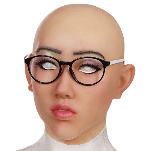 Beauty Kostüm Zubehör Queen - SXFYMWY Realistische weibliche Latexmaske Partei Cosplay sexy Kostüm Frau Gesicht Crossdressing Masken,Asianyellow