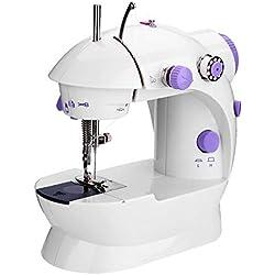 Anself Mini AC100-240V Machine à Coudre Electrique Réglage de la Vitess Ménage Purple Machine à Coudre 2 avec Pied Léger Pédale