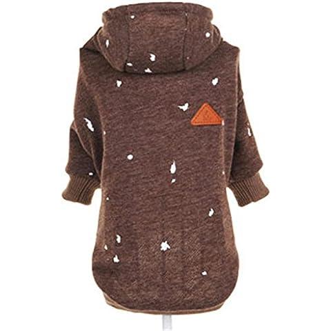 pet cappotto piumino morbide accoglienti con cappuccio caldo elastico polsini gatto vestiti 2 colori 2 formati , coffee , s
