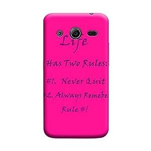 Desicase Samsung Core 2 Rule Quotes 3D Matte Finishing Printed Designer Hard Back Case Cover (Pink)
