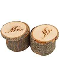 Pixnor 2pcs madera impresa Sr. Sra. Shabby Chic rústico Anillo almohada portador Box