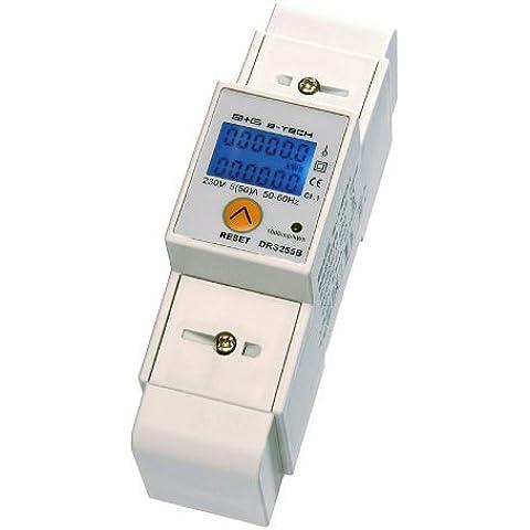 B+G E-Tech DRS255B - Contador de luz digital (pantalla LCD, diario, 5(50)A para cabezal con interfaz S0, 1000 imp/kWh)