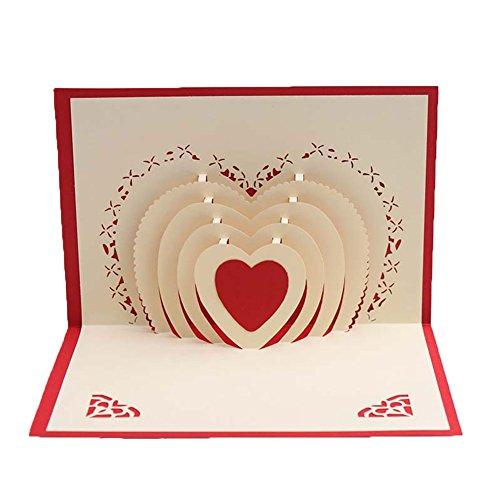 shyyymaoyi Creative 3D Love Heart Design Papier Pop Up Grußkarte Geburtstagskarte rot