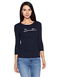 United Colors of Benetton Womens Cotton Sweatshirt (17A3C78E970AI_Dark Blue_S)