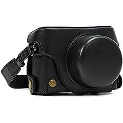 MegaGear Etui souple en Cuir pour, Housse pour Panasonic LUMIX LX100, DMC-LX100 Camera (Noir)