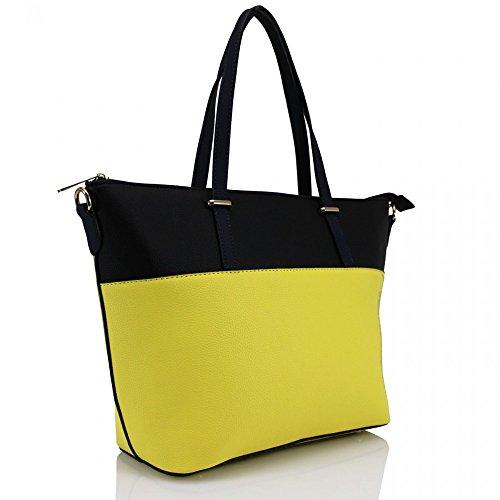 LeahWard® Damen Mode Essener Qualität Kunstleder Schultertaschen Modisch Tote Kreuzkörper Handtasche CWRF140161 CWRL150512 Braun H46cm x W42cm x D15cm