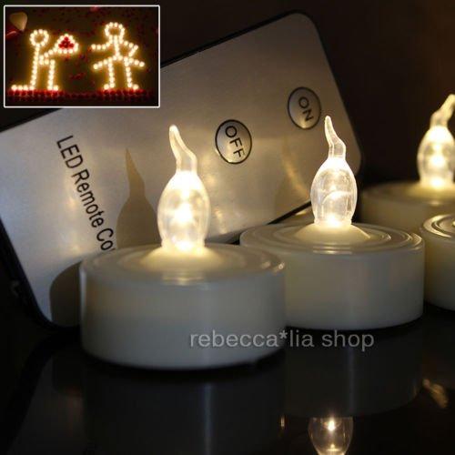 Preisvergleich Produktbild EMOTREE 12x LED Kerze Teelichter Elektrisch Fernbedienung Flackernd Flammenlos Licht
