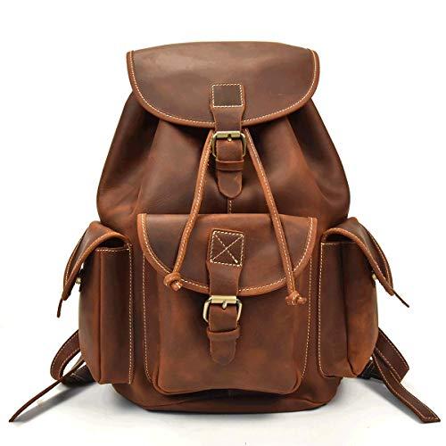 Männer Vintage Echtes Leder Rucksack Top Grain Rindsleder Rucksack Crazy Horse Leder Reisetasche Schultasche Daypack (Reddish Brown)