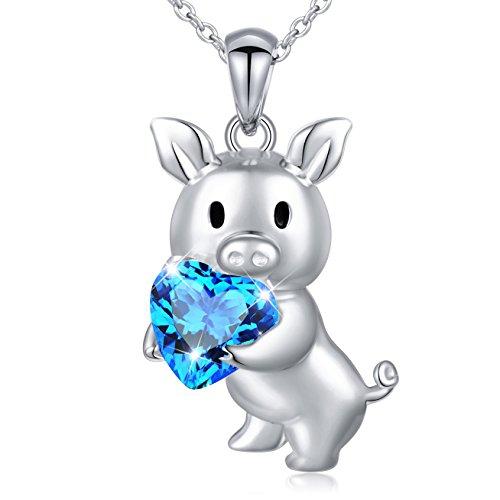 DAOCHONG Perfekte Muttertagsgeschenk S925 Sterling Silber blau Love Heart Anhänger Halskette niedlichen Schwein Tier Halskette mit Herz schöne Anhänger für Frauen Mädchen Kette 18 Zoll - Schwein-anhänger-halskette