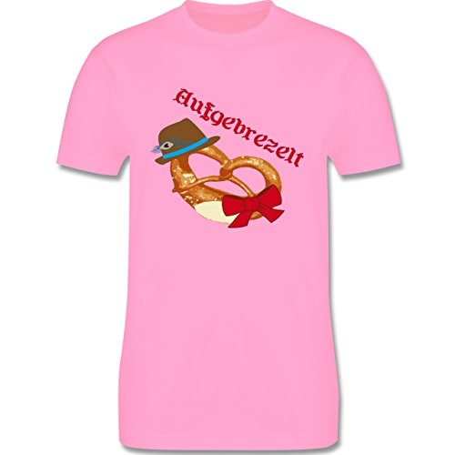 Oktoberfest Herren - Aufgebrezelt Wiesn - Herren Premium T-Shirt Rosa