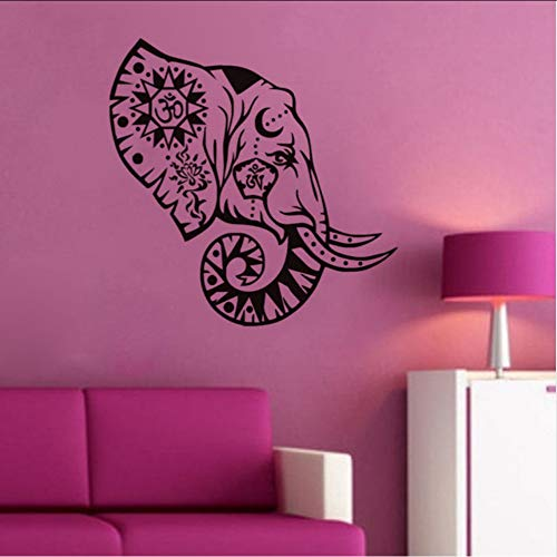 (Hjcmhjc) Elefant Kopf Vinyl Wandaufkleber Indische Muster Abnehmbare Kunst RaumWanddekor Tapete Wasserdichte Wandbild 57 * 57 Cm