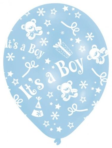 rund bedruckt IT 'S A BOY 6Latex Luftballons (Baby Geburt Halloween-kostüm)