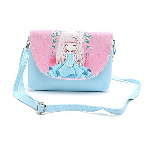 Dairyshop Sacchetti del messaggero del sacchetto di spalla della borsa del fumetto della ragazza delle donne sveglie della cartella (Azzurro) Azzurro