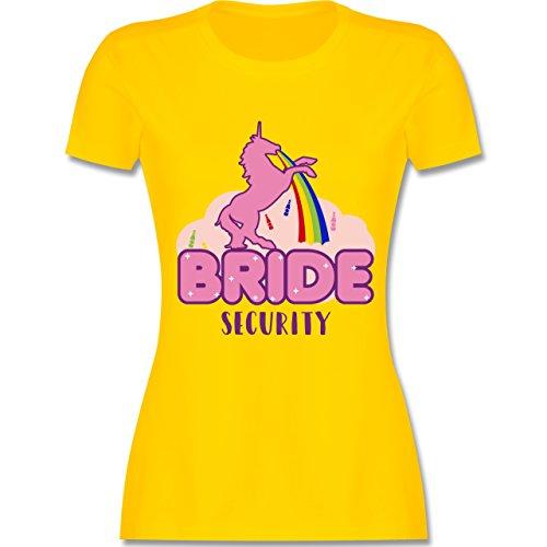 JGA Junggesellinnenabschied - JGA Bride Security Einhorn - tailliertes Premium T-Shirt mit Rundhalsausschnitt für Damen Gelb
