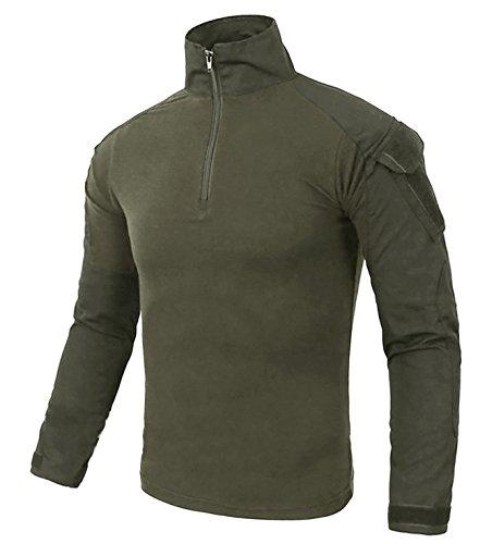 KEFITEVD Outdoor Hemd Langarm Herren Taktisch Militär T-Shirt Slim Fit Camouflage Shirt Armeegrün