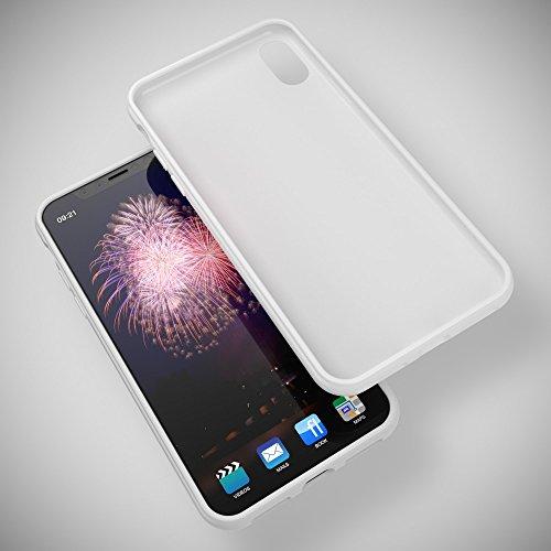 iPhone X Hülle Handyhülle von NICA, Ultra-Slim TPU Silikon Jelly Case, Dünnes Cover Gummi Schutzhülle Skin, Etui Handy-Tasche Backcover Bumper für Apple i-Phone X Smartphone, Farbe:Herz Schwarz Weiß