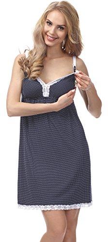 Be Mammy Damen Stillnachthemd BE20-140 Dunkelblau