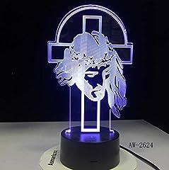Idea Regalo - Luce notturna Gesù Cristo Croce Usb 3d luce notturna a led Pastore Salmo Regali Scrivania Crocifisso Lampada da tavolo Camera da letto Il Signore è mio pastore