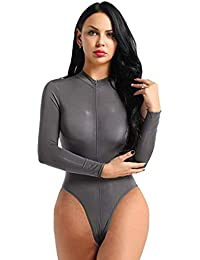 Women's Clothing Smart Yizyif Women Body Suit Sexy Leotard One Piece See Through Sheer Scoop Neck Sleeveless High Cut Backless Leotard Body Suit