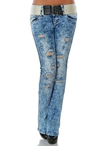 Damen Schlag Jeans Hose Schlaghose inkl. Gürtel No 15815 Blau