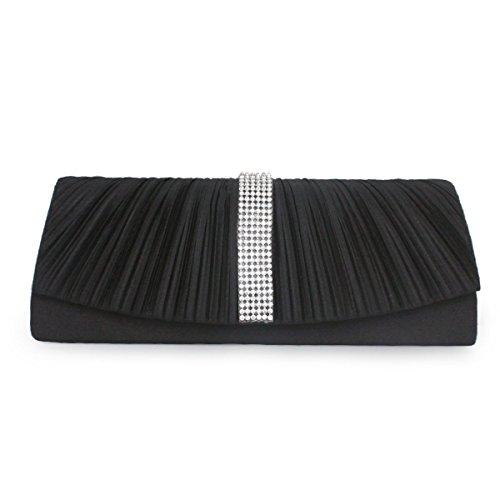 Sling Bag Foldover Kupplungs-Geldbeutel Frauen Clutch-Handtasche Hochzeit Black
