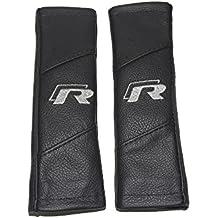 """2x cinturón de seguridad Cubre Pads Negro Piel """"R-Line"""" estilo bordado"""
