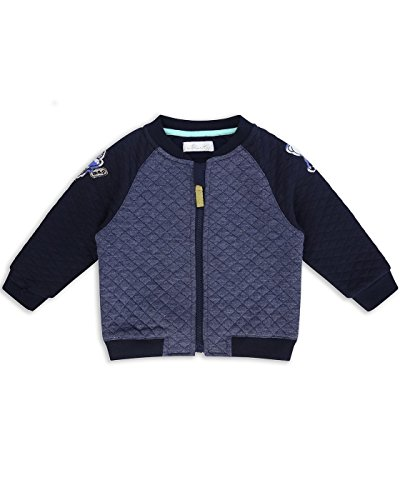 The Essential One - Baby Kids Boys Quilted Jersey Bomber Jacket - Bailey Bear - 12-18 M - Navy Blue/Grey - EOT180