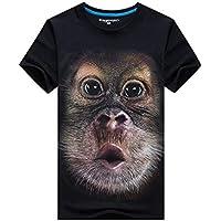 Delicacydex Americana Hombres Gorila 3D Impreso Camisetas de Manga Corta Estilo Hip Hop Hombre Usar Diariamente O Cuello Tops Camisetas - Negro 6XL