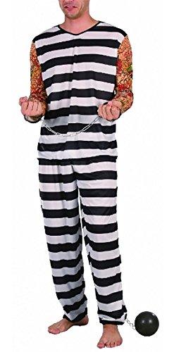 Islander Fashions Mens Jail Vogel Kost�m schwarz/wei� Stripped Prisoner Kost�m Kost�m EU One Size