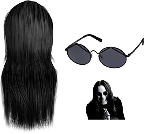 Ozzy Osbourne Wig And Glasses Black Sabbath Fancy Dress Hippy 60's 70's Costume Ozzy Ozbourne Ozzy Ozbourn Ozborn Fun Party Outfit Hair Spectacles Goth Gothic Tattoo Star