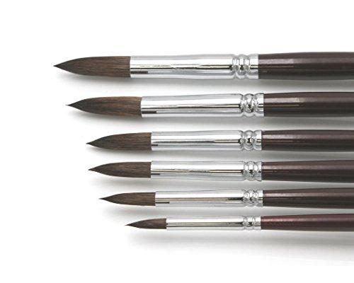 Künstler Pinselset '2' für Acryl & Ölfarbe, 6 hochwertige Pinsel aus Naturhaar Größen 2 - 18, runde Spitzen Premium Set 2