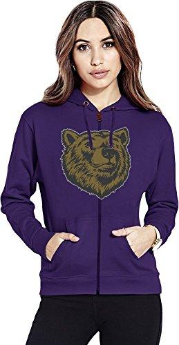 Bear head Womens Zipper Hoodie X-Large (Hoodie Bear Womens Zip)