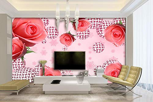 aper red rose pattern ball pink snowflake background 3D TV sofa background wall mural photo 3d wallpaper-350cmx245cm ()