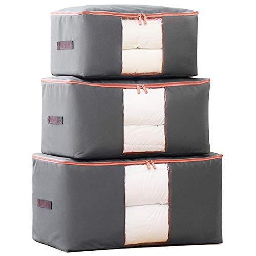 3 Stück(70x42x35cm + 60x40x30cm + 50x40x25cm) 600D Oxford Gewebe Aufbewahrungstasche für Bettdecken, Zusammenfaltbar - Ideal Für Mehrere Bettdecken, Kissen, Kleidung -