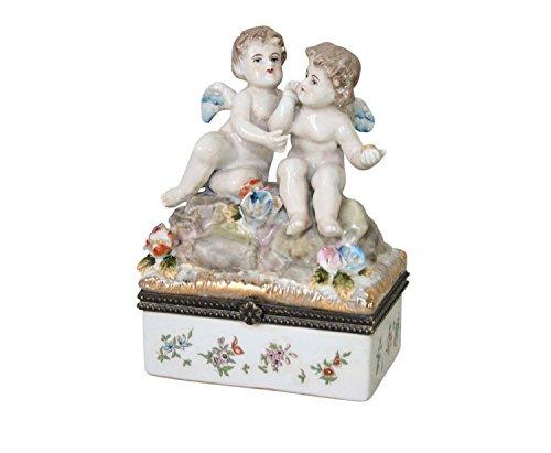 Nostalgie Porzellan Dose Schale Pillendose Engel Blumen Verzierungen Antik-Stil