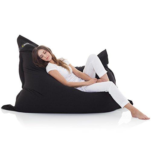 Manitou INDOOR Sitzsack SCHWARZ - 100% Baumwolle - 180 cm x 140 cm - Inhalt 500 Liter - Made in Germany - abziehbarer Bezug - 30 Jahre Garantie