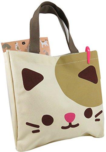 Unbekannt Daiso Cute Kitty Cat Tote Bag Geldbörse 26,7 x 26,7 cm Canvas Polyester Beige Braun Pink -