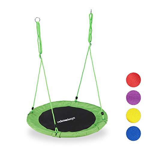 Relaxdays Unisex- Erwachsene Nestschaukel, rund, für Kinder & Erwachsene, verstellbar, Ø 90 cm, Garten Tellerschaukel, bis 100 kg, grün, H x D: ca. 5 x 90 cm