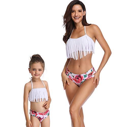 Vovotrade_abbigliamento per la famiglia costume da bagno a due pezzi bohemian polk con stampa a pois plaid splice abbigliamento da spiaggia e stampa a bikini con frangia