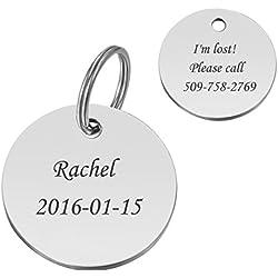 HooAMI Médaille Chien Chat Identification Rond Gravure Personnalisé en Acier Inoxydable avec Service Gratuit de Gravure 25mm