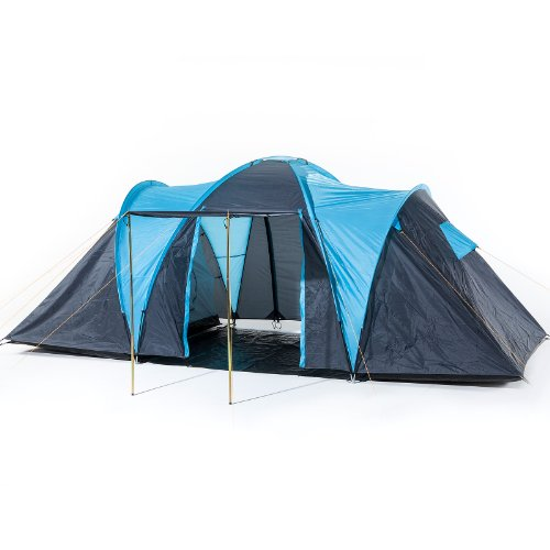 41I2D6fhwtL. SS500  - Skandika Hammerfest Family Dome Tent with 2 Sleeping Cabins, 200 cm Peak Height, Blue, 4-Person