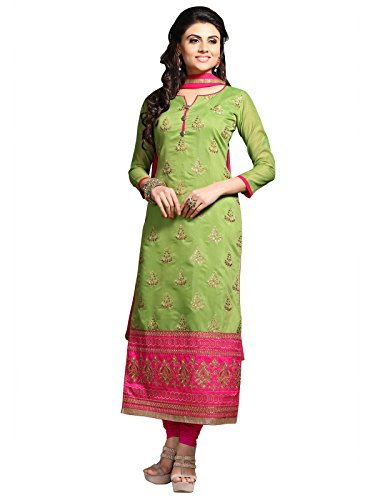 KANCHNAR Women's Cotton Dress Material (446D1113_Free Size_Green and Pink)