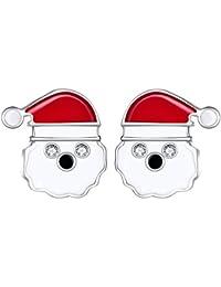 Lydreewam - Pendientes de tuerca de plata de ley 925 con diseño de Papá Noel y de Papá Noel