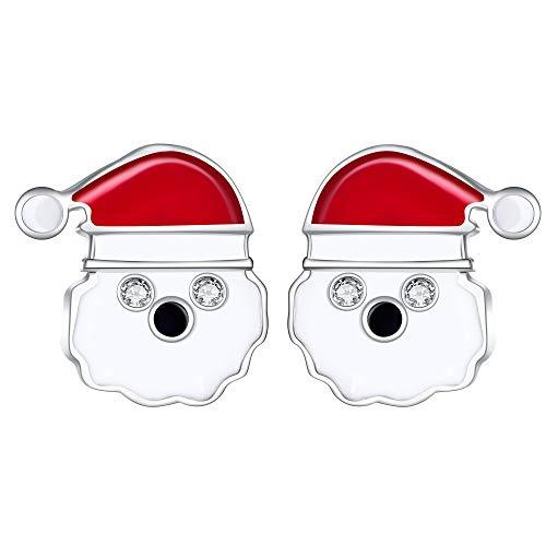 Lydreewam Weihnachten Ohrringe Ohrstecker Weihnachtsmann 925 Sterling Silber Weihnachts Schmuck Geschenk für Frauen Mädchen Kinder