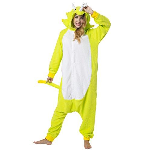 Katara 1744 -Dinosaurier grün Kostüm-Anzug Onesie/Jumpsuit Einteiler Body für Erwachsene Damen Herren als Pyjama oder Schlafanzug Unisex - viele verschiedene Tiere