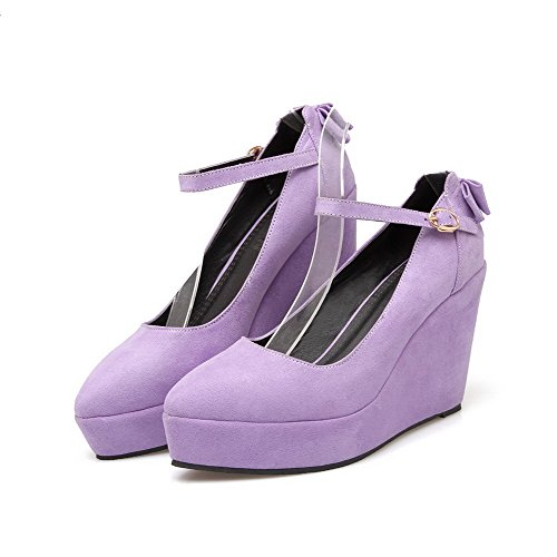 VogueZone009 Femme Boucle à Talon Haut Suédé Couleur Unie Pointu Chaussures Légeres Violet