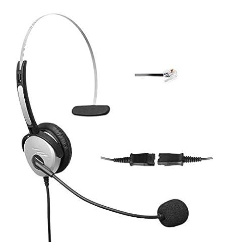 4Call H500QCMB Mono RJ Telephone Headset Headphone + Noise Canceling Mic + Quick Disconnect + Volume Control for Plantronics M10 M22 Vista Adapter and Cisco 7975 9971 Office Landline Desk IP